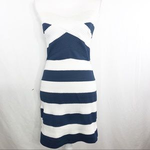 Navy & White Elastic Band Body Con Dress   K146